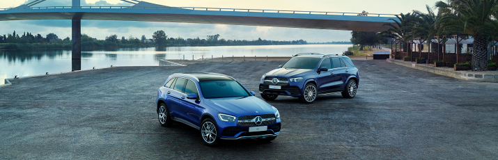 Mercedes-Benz SUVs by the river